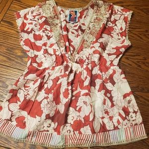 Johnny Was red floral v neck blouse size XS